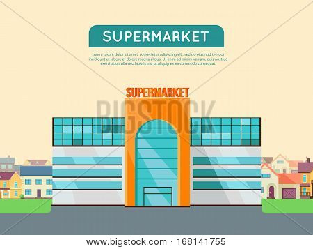 Supermarket web page template. Flat design. Commercial building concept illustration for web design, banners. Shop, shopping center, mall, supermarket, business center on township background.