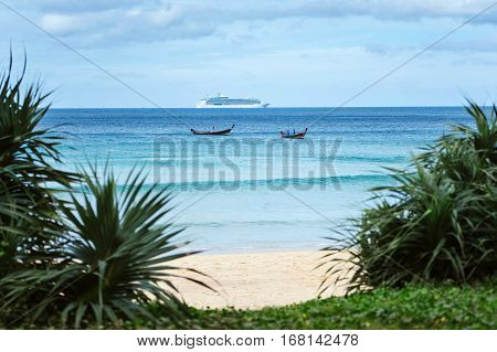 A cruise ship. Cruise ship in blue sea