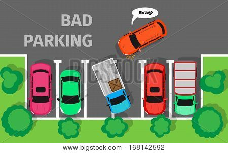 Bad parking. Car parked in inappropriate way. Driver annoying everyone. Bad car driver. Parking zone conceptual web banner. Rude disrespectful impolite driver in parking lot or car park. Vector