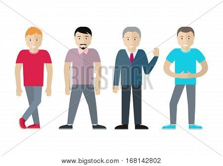 Set of men of different age and status. Sportive blond man, man with beard, elderly male in tie and sweater, brunette teenager in blue t-shirt isolated on white. Illustration in flat style. Vector