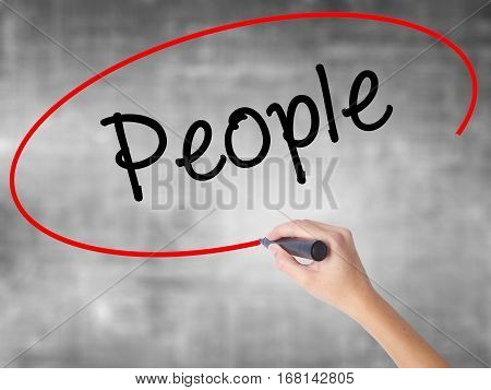 Woman Hand Writing People With Black Marker Over Transparent Board