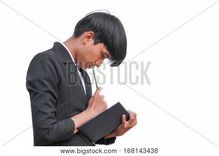 Businessman handsome in hand signing record document with notepad on white background