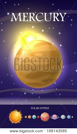 Mercury planet. Smallest and innermost planet. Its orbital period is less than any other planet in Solar System. Outer space, galaxy and earth. Astronomy science aspect. Sun system. Universe. Vector