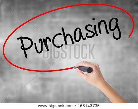 Woman Hand Writing Purchasing With Black Marker Over Transparent Board.