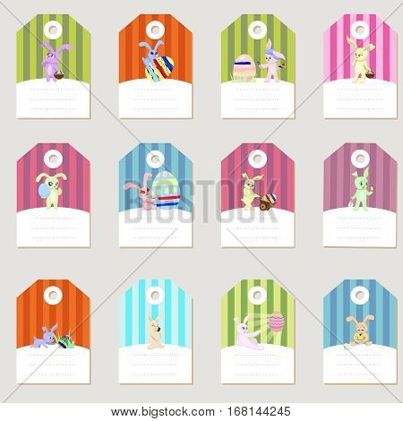 Stickers rabbits easter eggs set retro flat concept design vector illustration