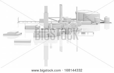 Abstract Modern Industrial Factory