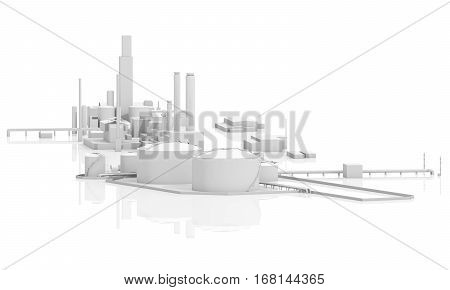 Tanks, Chimneys And Buildings, 3D