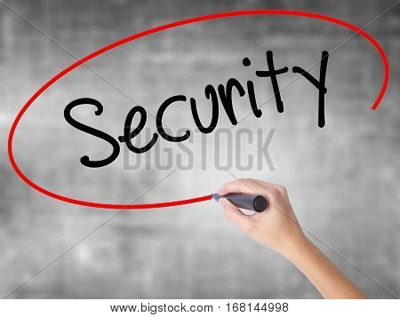 Woman Hand Writing Security With Black Marker Over Transparent Board