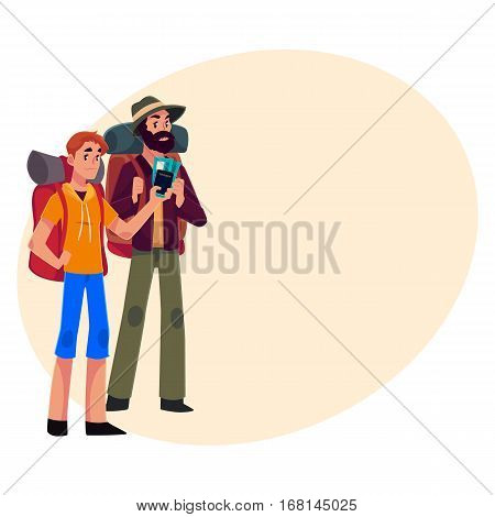Two pretty girls travelling, hitchhiking with backpacks and camera, cartoon illustration on background with place for text. male backpackers, hitchhikers, friends travelling with backpacks and camera