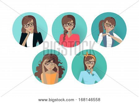 Set of userpic of a business lady. Woman at work icon symbol. Different female faces in circles. Girls user pics set. Avatar collection. Flat style. Part of series of daily routine of the week. Vector
