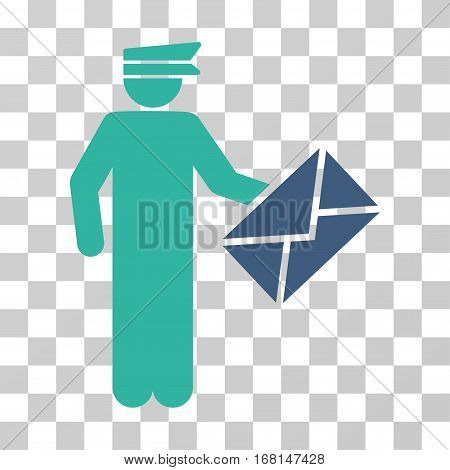 Postman icon. Vector illustration style is flat iconic bicolor symbol, cobalt and cyan colors, transparent background. Designed for web and software interfaces.
