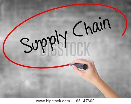 Woman Hand Writing Supply Chain With Black Marker Over Transparent Board