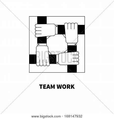 United hands of businessmen. Logo of union. Icon of teamwork. Vector illustration.