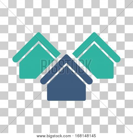 Real Estate icon. Vector illustration style is flat iconic bicolor symbol, cobalt and cyan colors, transparent background. Designed for web and software interfaces.