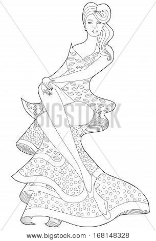 Coloring book page for adults. Sitting girl in a long dress. Rockabilly.