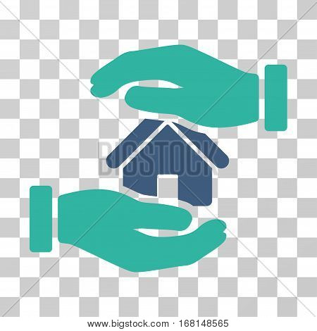 Realty Insurance icon. Vector illustration style is flat iconic bicolor symbol, cobalt and cyan colors, transparent background. Designed for web and software interfaces.