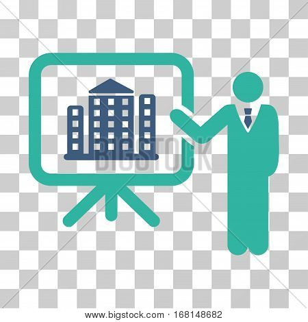 Realty Presention icon. Vector illustration style is flat iconic bicolor symbol, cobalt and cyan colors, transparent background. Designed for web and software interfaces.