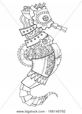 Steampunk style sea horse. Mechanical animal. Coloring book vector illustration.