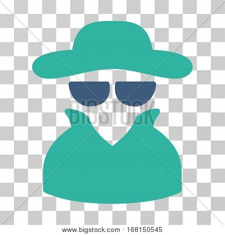 Spy icon. Vector illustration style is flat iconic bicolor symbol, cobalt and cyan colors, transparent background. Designed for web and software interfaces.