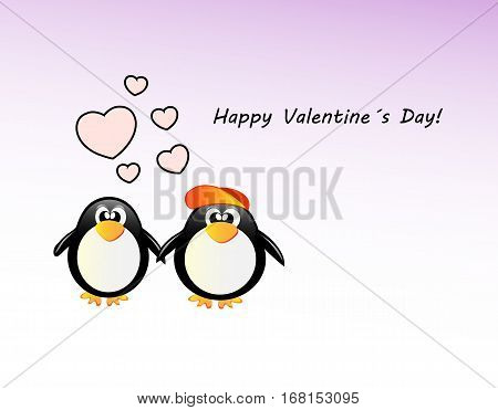 Vector Valentine´s Day Card With Penguin