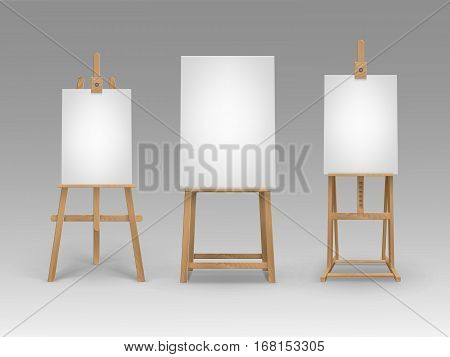Vector Set of Brown Sienna Wooden Easels with Mock Up Empty Blank Vertical Canvases Isolated on Background