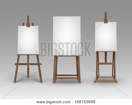 Vector Set of Brown Wooden Easels with Mock Up Empty Blank Vertical Canvases Isolated on Background