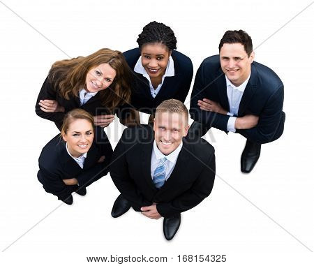 High Angle View Of A Successful Businesspeople With Different Multi Ethnicity Standing On White Background