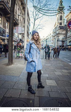 Streetstyle Photo Shoot Of Beautiful Fashion Blonde Woman