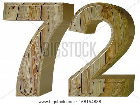 Numeral 72, Seventy Two, Isolated On White Background, 3D Render