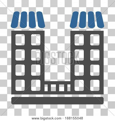 Company icon. Vector illustration style is flat iconic bicolor symbol, cobalt and gray colors, transparent background. Designed for web and software interfaces.
