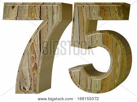 Numeral 75, Seventy Five, Isolated On White Background, 3D Rende