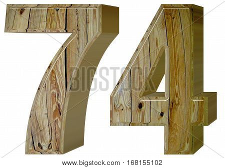 Numeral 74, Seventy Four, Isolated On White Background, 3D Rende