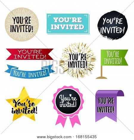 You're invited badges set. Invitation design. Assorted stickers.