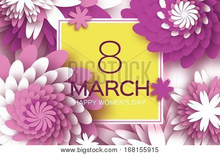 8 March. Happy Mother's Day. Purple Paper cut Floral Greeting card. Origami flower holiday background. Square Frame, space for text. Happy Women's Day. Trendy Design Template. Vector illustration
