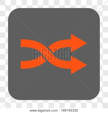 Shuffle Arrows Right interface toolbar button. Vector icon style is a flat symbol inside a rounded square button orange and gray colors chess transparent background.