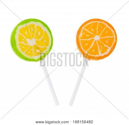 Two Lollipop Flavored With Lime And Orange