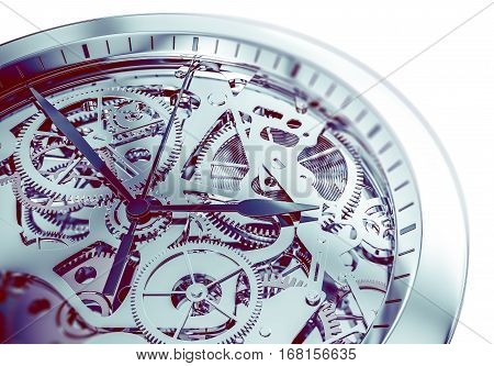 Elegant and Complicated Hand Watch Mechanism 3D Illustration.