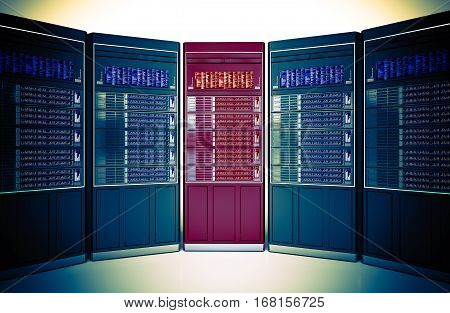 Dedicated Server Choosing Concept 3D Rendered Illustration. Hosting Theme.