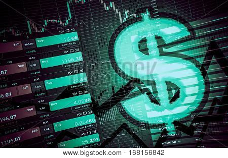 Forex Dollar Trading Concept 3D Abstract Illustration. Forex Trading.