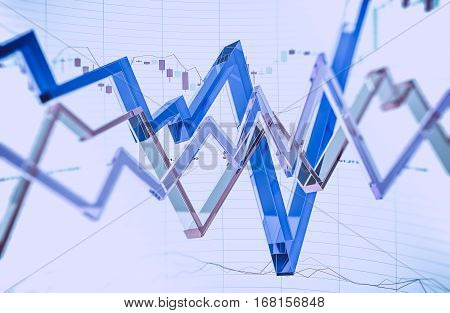 Glassy Forex Trading Illustration 3D Rendered. Abstract Forex Trader Business Concept.