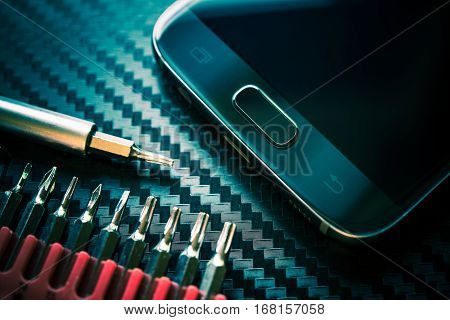 Mobile Phone Repair and Upgrade. Smartphone Repairing Concept Photo.