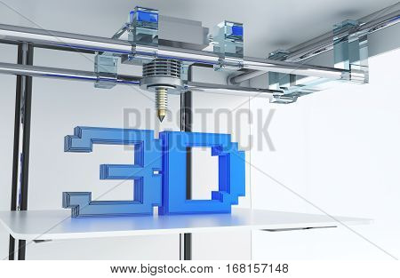 Printing in 3D Technology Conceptual 3D Rendered Closeup Illustration. Modern Three Dimensional Printer.