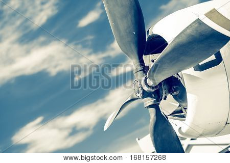 Vintage Aircraft Propeller. Historical Airplane Propeller Closeup Photo.