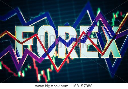 3D Concept Forex Illustration. Glassy Line Statistic Graphs. Forex Business Theme.