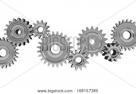 3D Metallic Gears Isolated on White Background. Conceptual Illustration