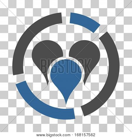 Geo Targeting Diagram icon. Vector illustration style is flat iconic bicolor symbol, cobalt and gray colors, transparent background. Designed for web and software interfaces.