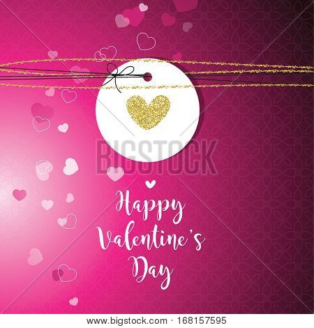 Valentine's card with copy space. Template. Graphic design element.