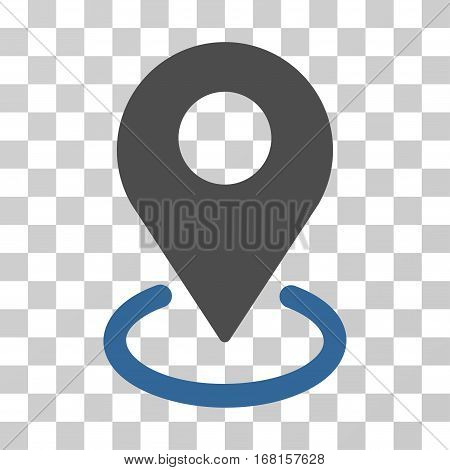 Geo Targeting icon. Vector illustration style is flat iconic bicolor symbol, cobalt and gray colors, transparent background. Designed for web and software interfaces.