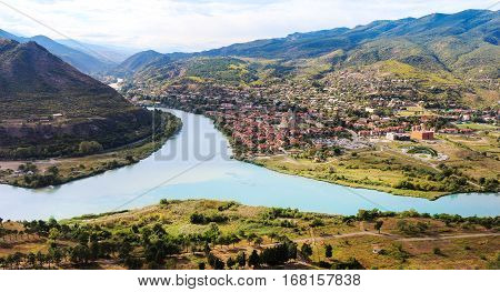 The picturesque landscape with the confluence of the rivers Kura and Aragvi (Mtskheta) in Georgia
