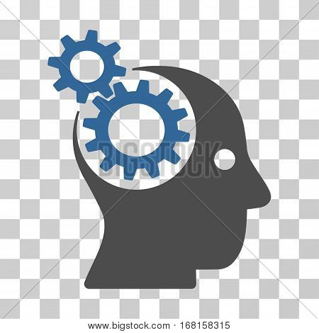 Intellect Gears icon. Vector illustration style is flat iconic bicolor symbol, cobalt and gray colors, transparent background. Designed for web and software interfaces.